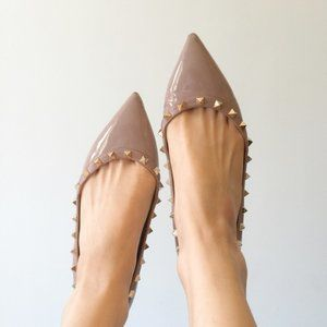 Valentino Garavani Rockstud Patent Ballet Flats